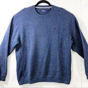Mens IZOD Blue Marled LARGE Crew Neck Sweater  EUC